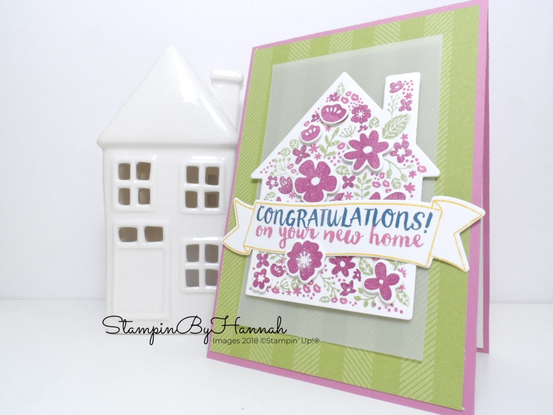 Bright and fun Congratulations New Home card using Home Life from Stampin' Up!