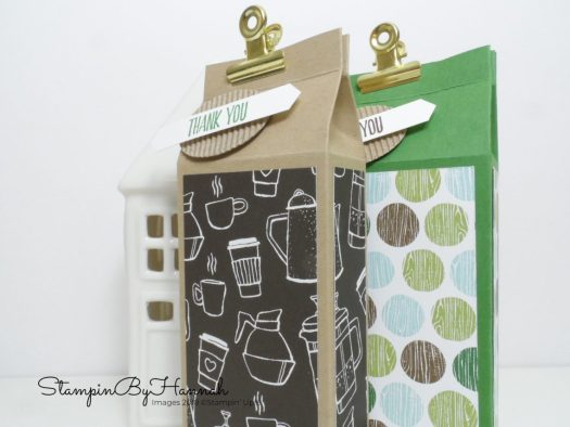 How to make a fun milk carton top box using Coffee Break Designer Series Paper from Stampin' Up!