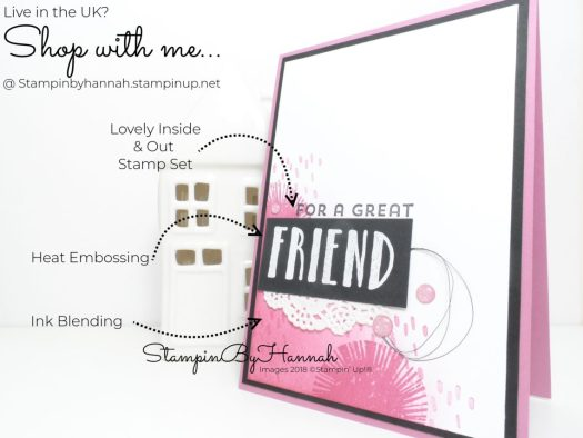 How to make a fun friend card using Ink Blending and Lovely Inside and Out from Stampin' Up! with StampinByHannah
