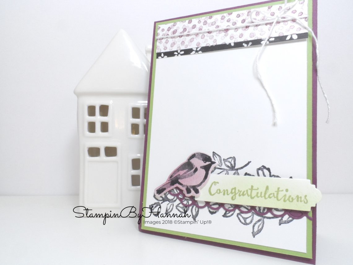 Pretty Congratulations card with bird using Petal Palette from Stampin' Up!