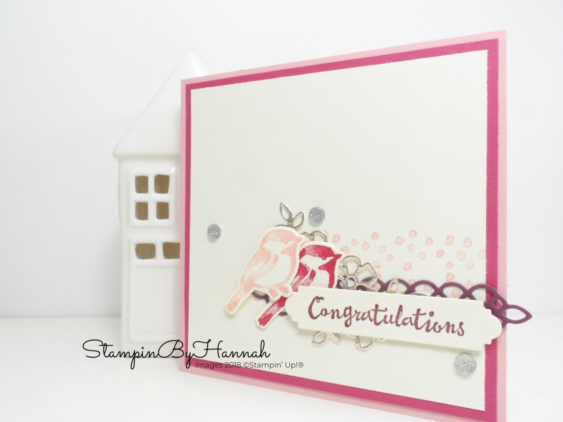 Pretty in Pink Wedding Congratulations card using Petal Palette from Stampin' Up!