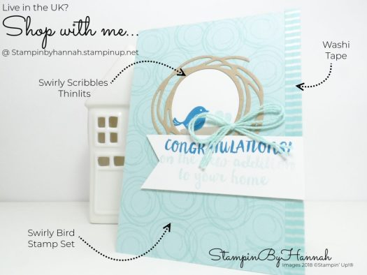 How to make a fun baby card using Swirly Bird from Stampin' Up!