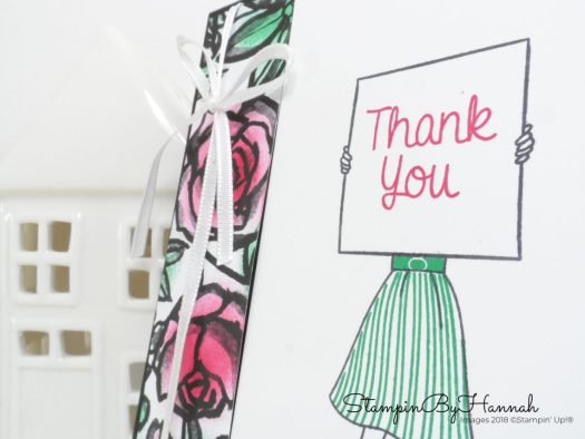 handmade Thank You Card using Petal Passion Designer Series Paper coloured with Sponge Daubers and Hand Delivered from Stampin' Up!