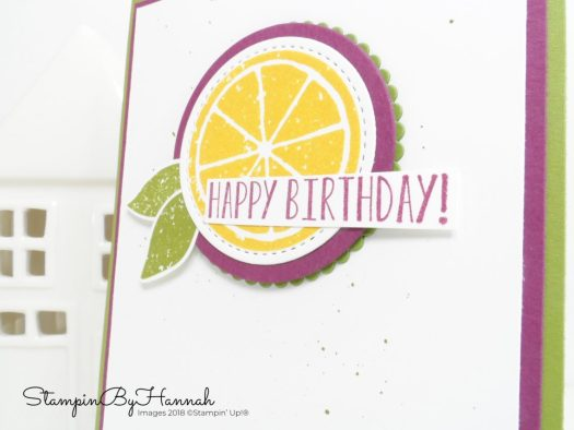 How to make a quick and easy Birthday Card using Lemon Zest from Stampin' Up! with #stampinbyhannah