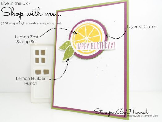 Bright and Fun Birthday Card using Lemon Zest from Stampin' Up! with StampinByHannah