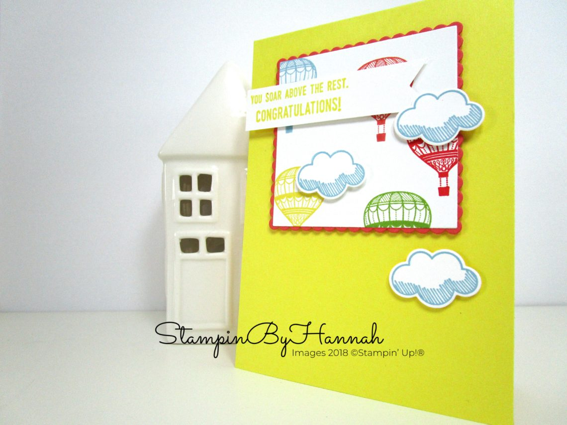 Bright and Bold Congratulations Card with Balloons using Lift Me Up from Stampin' Up!