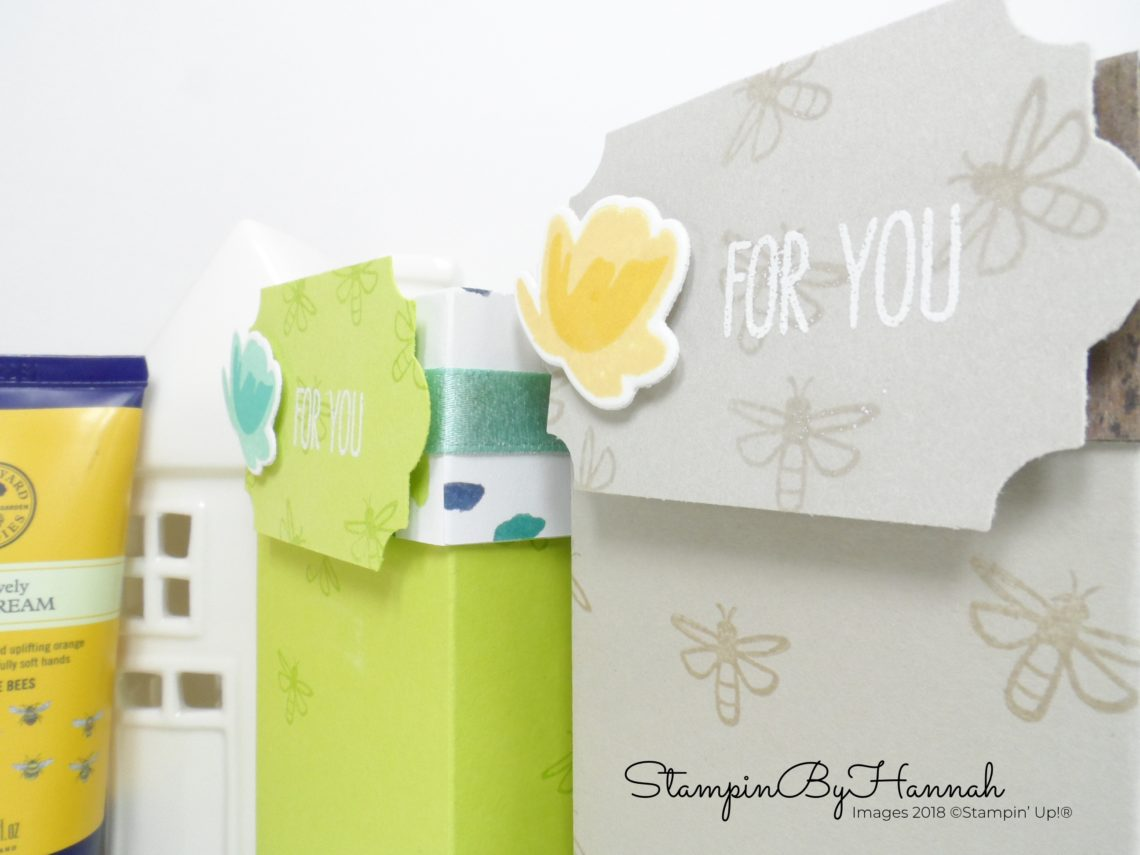 How to make a Lidded Box for Bee Lovely Hand Cream from Neal's Yard using Jar of Love from Stampin' Up!