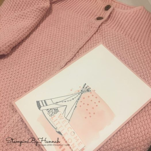 cute pink baby card and gift using Stampin' Up! products