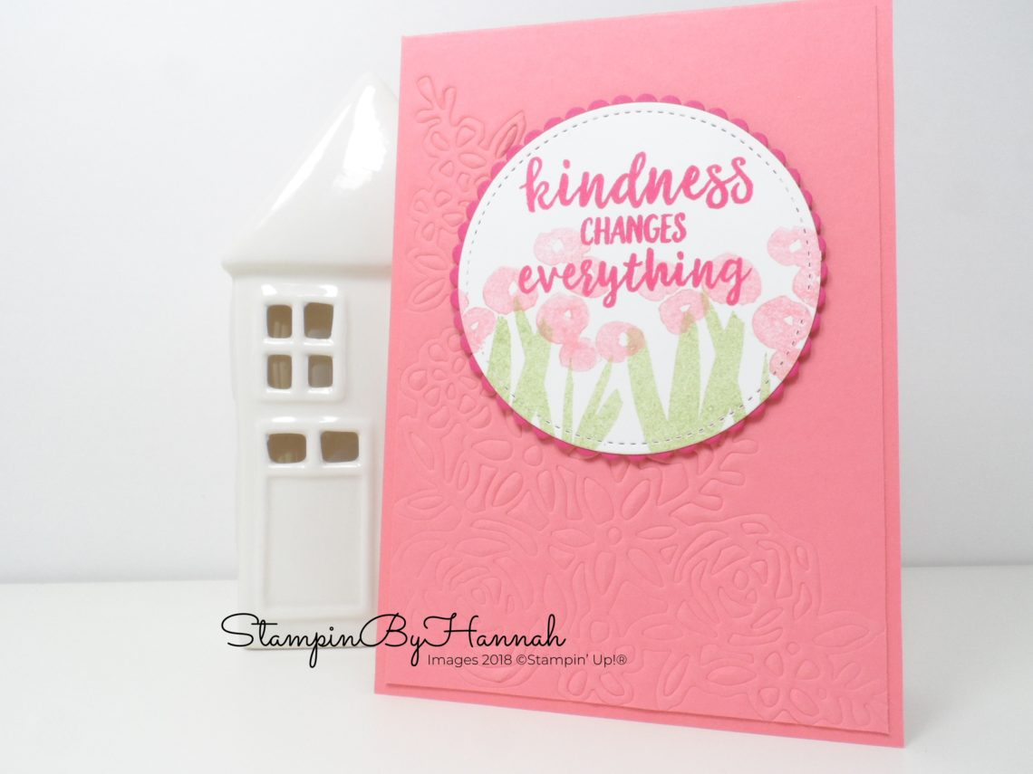 How to make a fun floral Kindness card and Emboss with dies using Abstract Impressions from Stampin' Up!