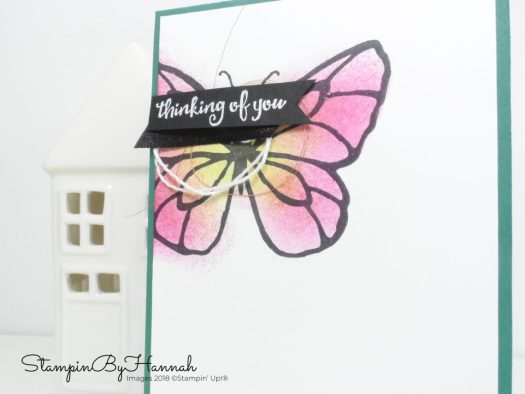 Sponged Butterfly Thinking of you card using Beautiful Day from Stampin' Up!