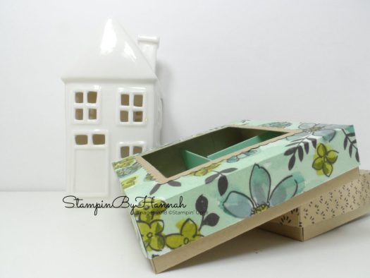 Cute divided box with lid using pattened paper from Stampin' Up!