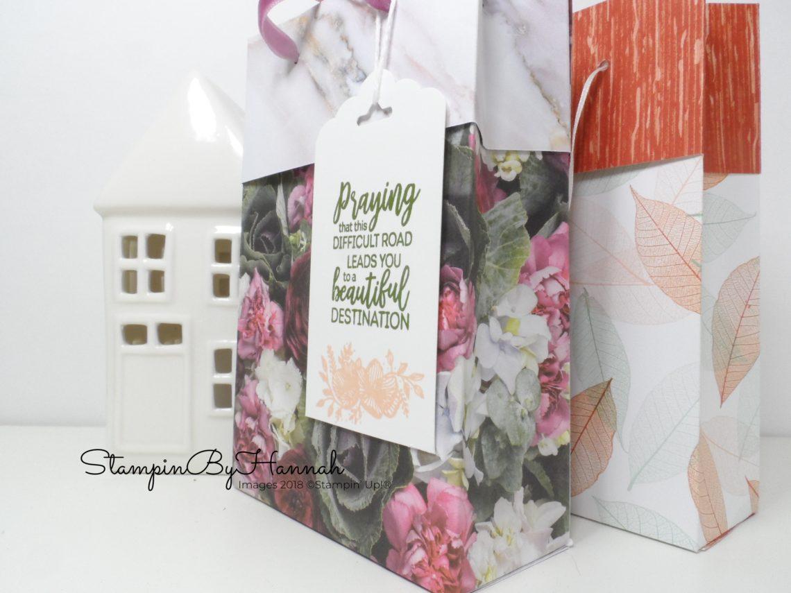 How to make this fun gift bag using Petal Promenade Designer Series Paper from Stampin' Up!