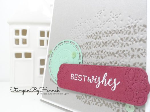 Embossed Best Wishes card using Stitched All Around from Stampin' Up!