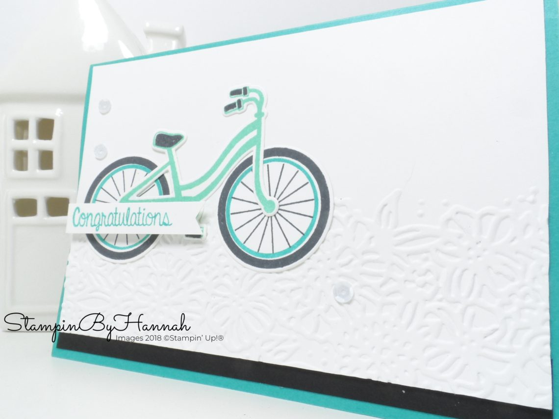 International Blog Highlight Travel themed Congratulations Card using Bike Ride from Stampin' Up!
