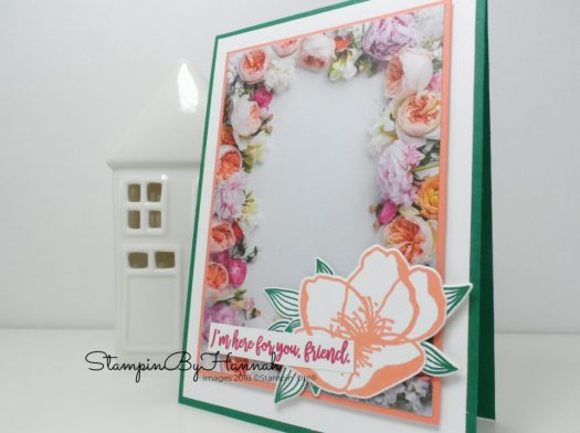 Pretty Friend card featuring a floral frame using Petal Promenade Designer Series Paper from Stampin' Up!