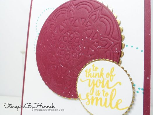 To think of you is to smile Embossed card using Stampin' Up! products