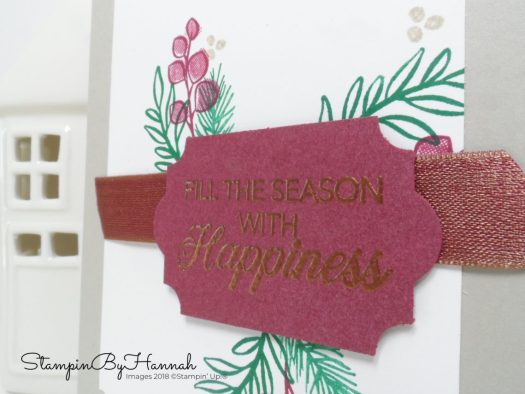 Create a handstamped Christmas Card using Peaceful Noel from Stampin' Up!