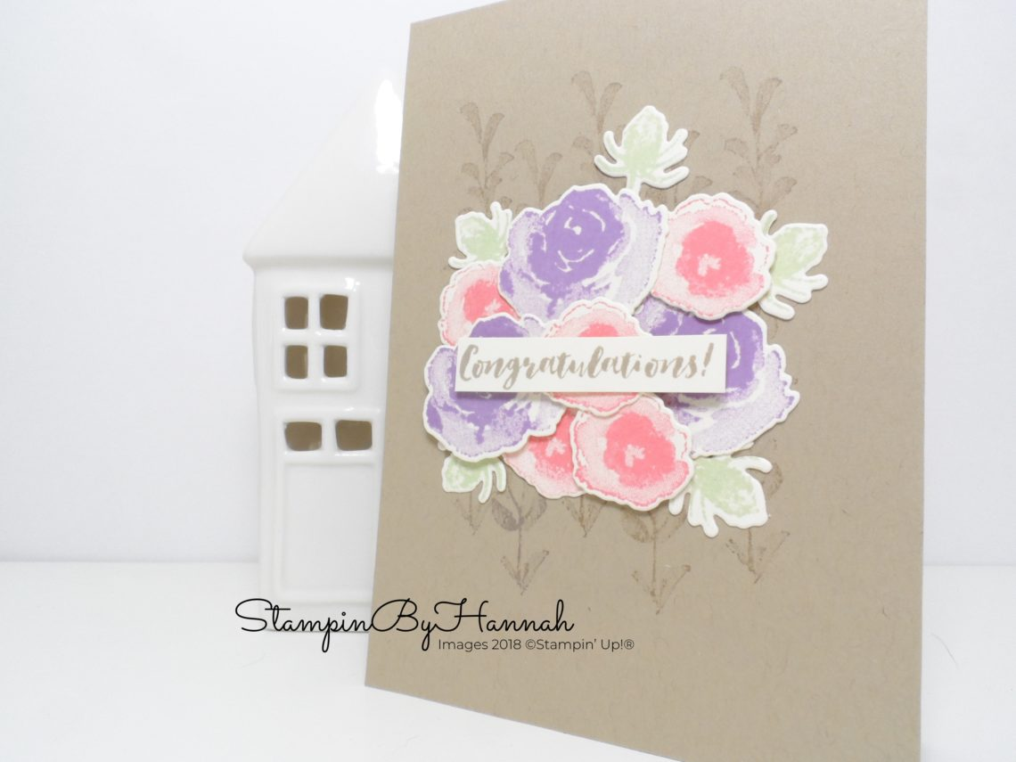 Pretty floral congratulations card for Kylie's International Blog Highlights using First Frost from Stampin' Up!