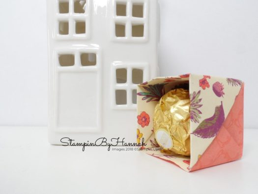 Mini Origami Chocolate boxes using Tea Room Designer Series paper from Stampin' Up!