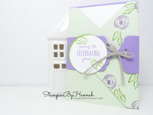 Pretty envelope card using Perinnal Birthday Pootles Papercraft Make and Takes