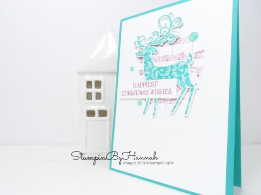 Modern Christmas Card with a Musical Feel using Dashing Deer from Stampin' Up!