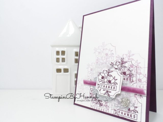 Quick and fun Punched Thank You Card using Stampin' Up! products and lots of Blackberry Bliss!