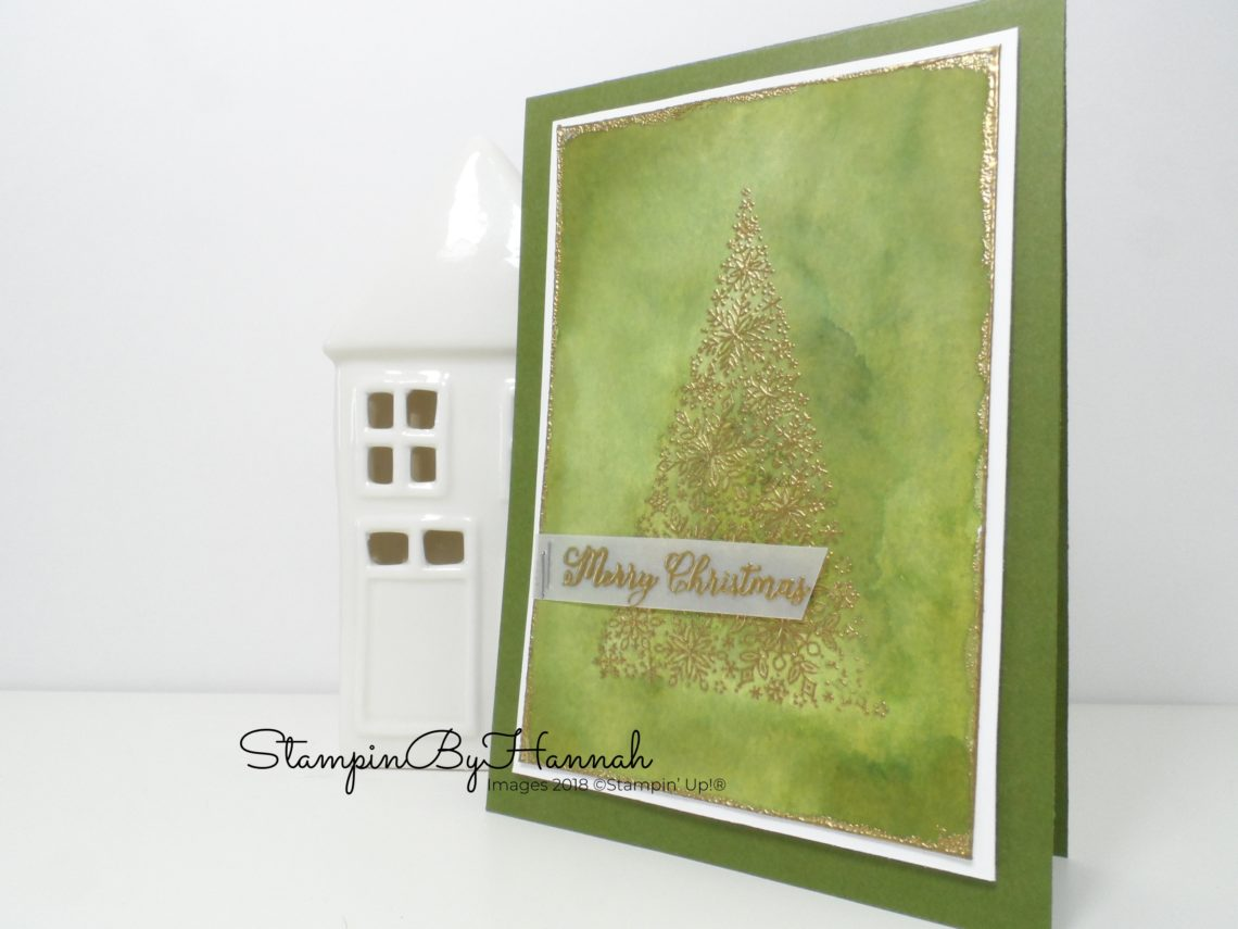 Gold and Green watercolour Merry Christmas Card using Snow is Glistening from Stampin' Up!