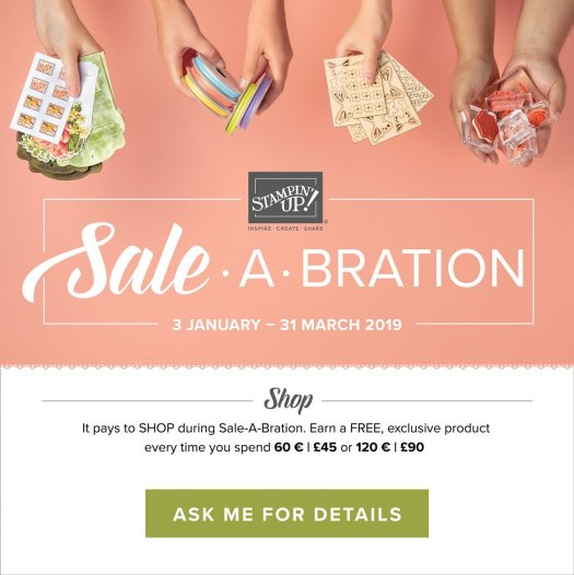 Shop with Sale-a-bration 2019 and earn a free gift every time you spend £45 with Stampin' Up! and StampinByHannah