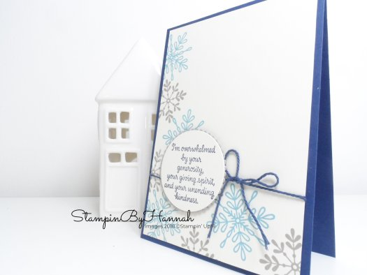 Winter Thank You card using Snowflake Sentiments from Stampin' Up! with StampinByHannah