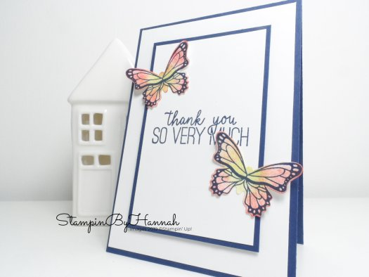 Hand made Butterfly Thank You Card  using Butterfly Gala from Stampin' Up! for Facebook Live with StampinByHannah
