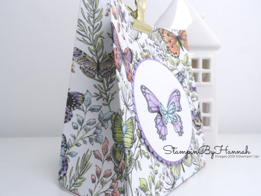 How to make a cute pinch top bag using Botanical Butterfly Designer Series Paper from Stampin' Up! FREE during Sale-a-bration with StampinByHannah