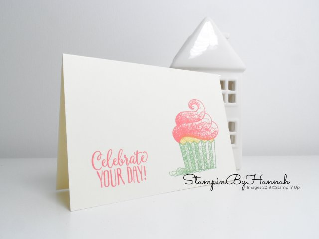 Cute Notecard using Hello Cupcake Stamp Set FREE during Sale-a-bration from Stampin' Up! with StampinByHannah