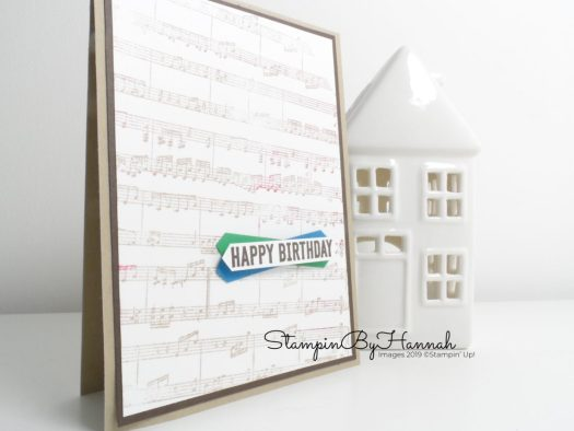 Musical Birthday card for guys using Itty Bitty Birthdays from Stampin' Up! with StampinByHannah