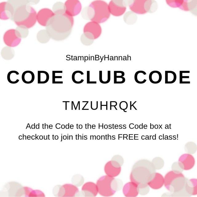 StampinByHannah Code Club Class Code May 2019