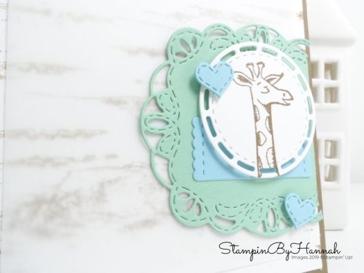 Cute Giraffe Baby card using Animal Outings from Stampin' Up! with StampinByHannah