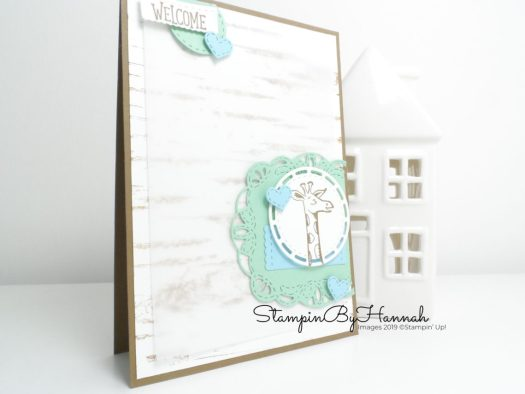 Fun Neutral Welcome baby card using Animal Outing from Stampin' Up! with StampinByHannah