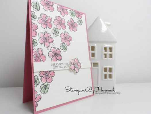 Thank you card using flower stamps from Free as a Bird from Stampin' Up! with StampinByHannah