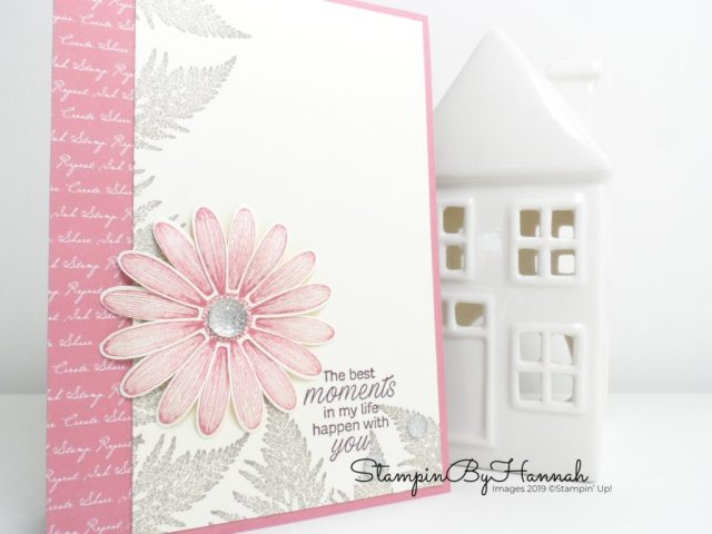 Simple but stunning Daisy Lane Card using Rococo Rose from Stampin' Up! with StampinByHannah