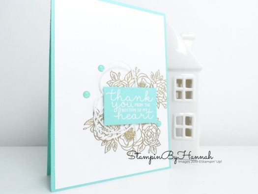 Heat Embossed Thank you card using Bloom and Grow from Stampin' Up! with StampinByHannah