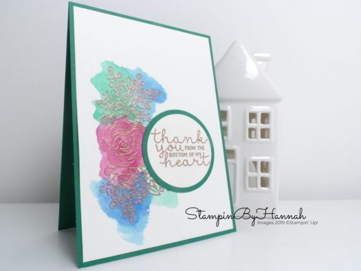 Watercolour wash Bloom and Grow Thank you card using Stampin' Up! products with StampinByHannah