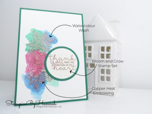 Pretty watercolour thank you card using Bloom and grow from Stampin' Up! with StampinByHannah
