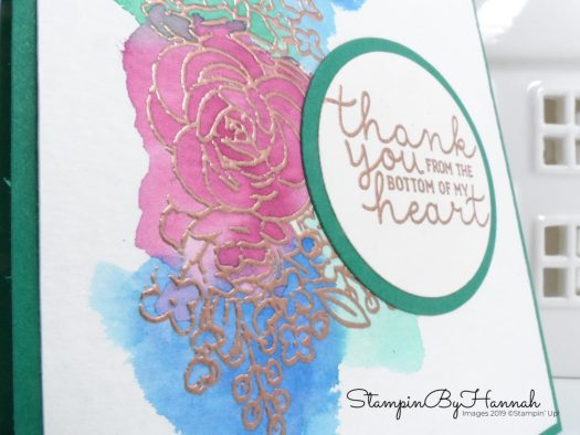 Watercolour card using Bloom and Grown from Stampin' Up! with StampinByHannah