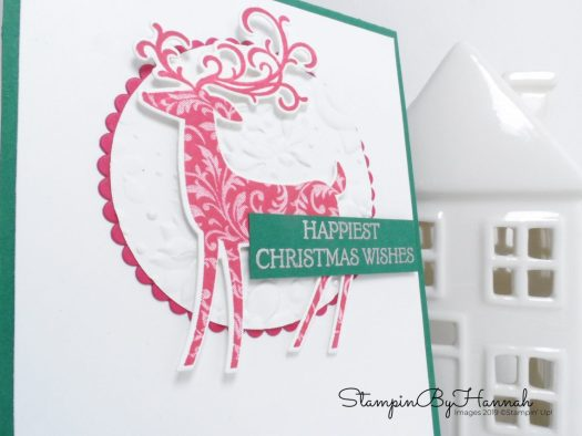 Happiest Christmas Wishes Card using Dashing Deer from Stampin' Up! with StampinByHannah