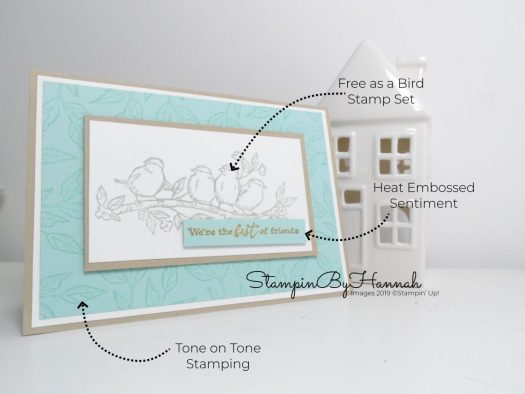 Tone on Tone stamping with Free as a bird from Stampin' Up! with StampinByHannah