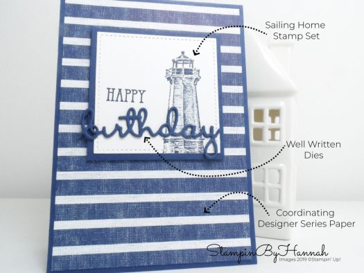 How to make a simple birthday card for a man using the Come Sail Away suite from Stampin' Up! with StampinByHannah