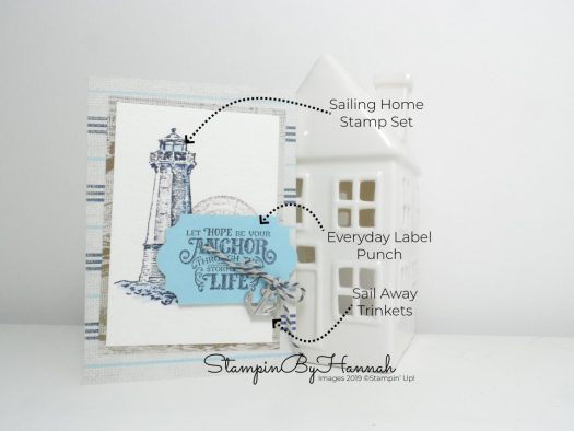 Sailing Home Notecard using Stampin' Up! products with StampinByHannah