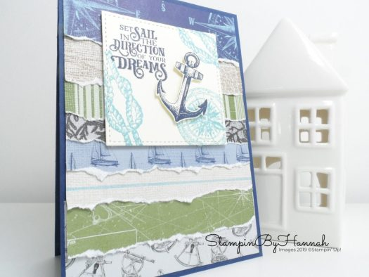 Ripped Designer Series Paper with Sailing Home from Stampin' Up! with StampinByHannah
