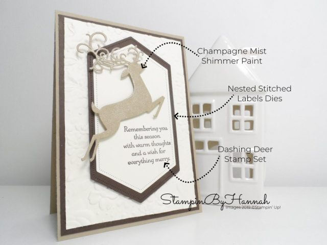 How to make a Sparkly Christmas card using Dashing Deer from Stampin' Up! with StampinByHannah