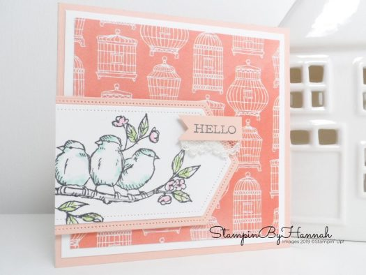 Hello card using Free as a bird from Stampin' Up! with StampinByHannah