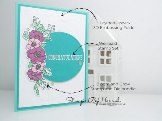 How to make a cute Congratulations card using Bloom and Grow from Stampin' Up! with StampinByHannah